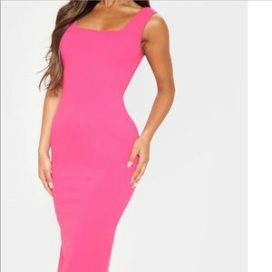 Hot pink long dress with cut out back